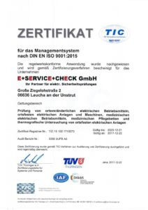 Zertifikat für die Prüfung elektrischer Anlagen